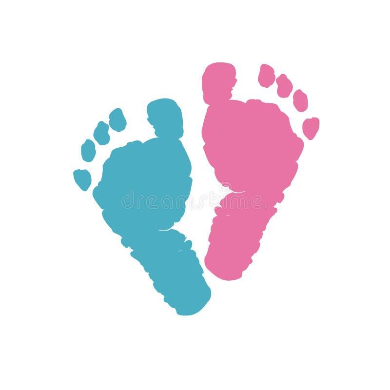 Babypartygrußkarte Babyfußdrucke Blaue farbige und rosa farbige Fußdrucke stock abbildung