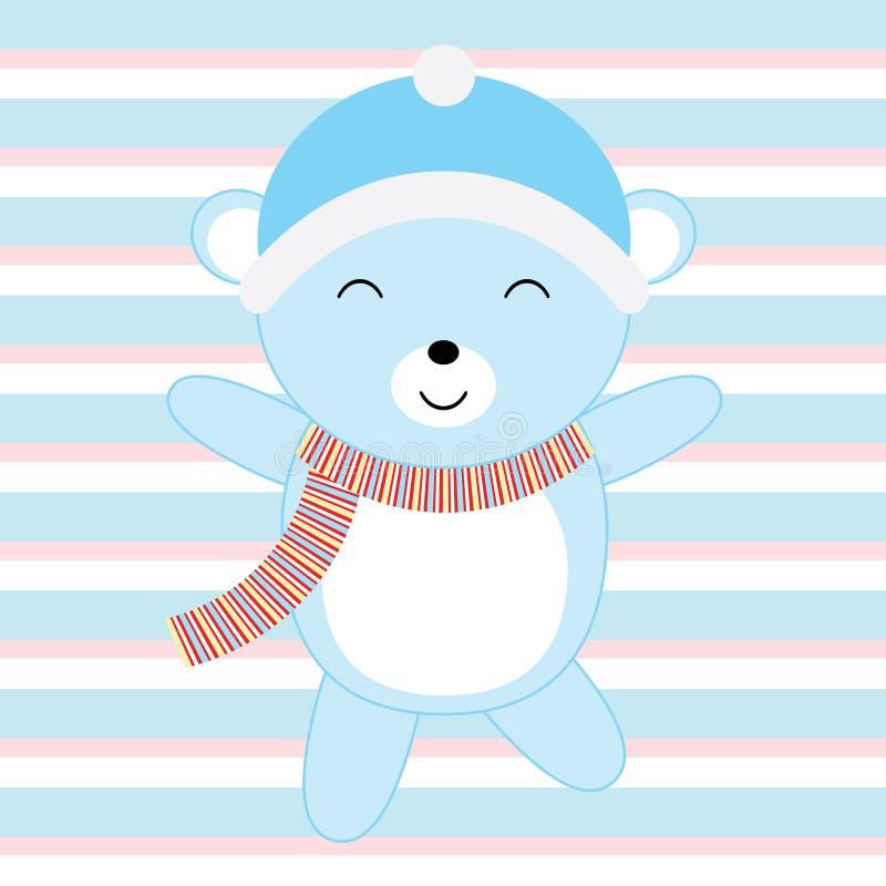 Babypartyillustration mit dem netten Bären des blauen Babys passend für Einladungskarte, Postkarte und Kindertagesstättenwand stock abbildung
