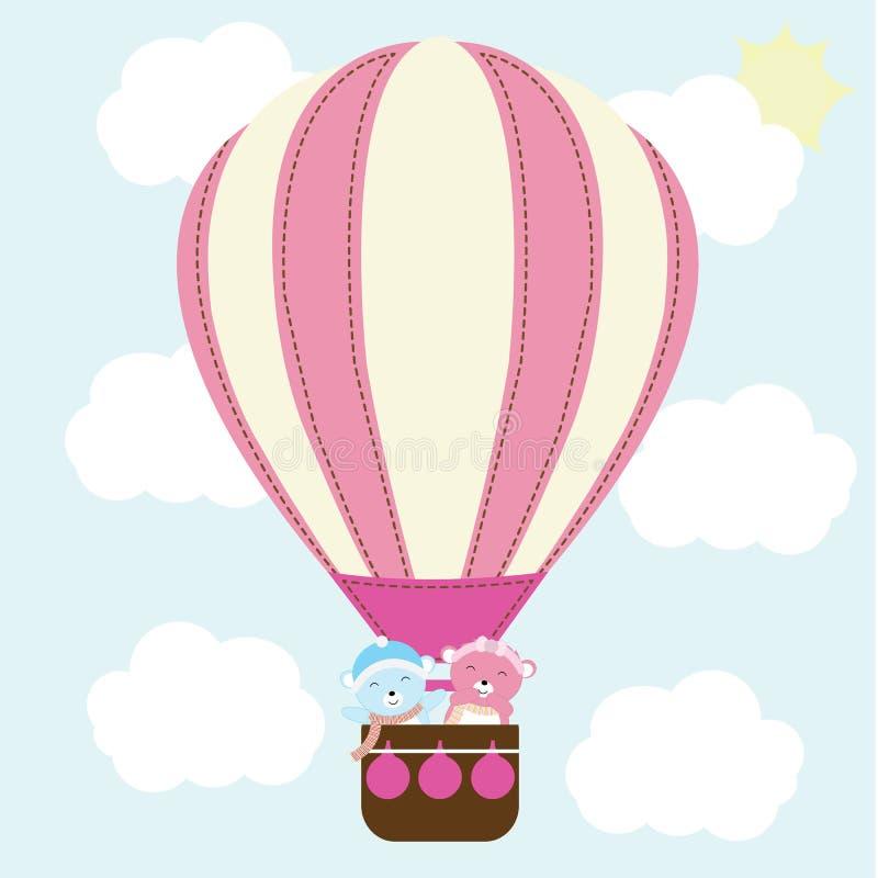 Babypartyillustration mit nettem Baby trägt im Heißluftballon auf dem blauen Himmel, der für Babypartyeinladung passend ist, die  stock abbildung