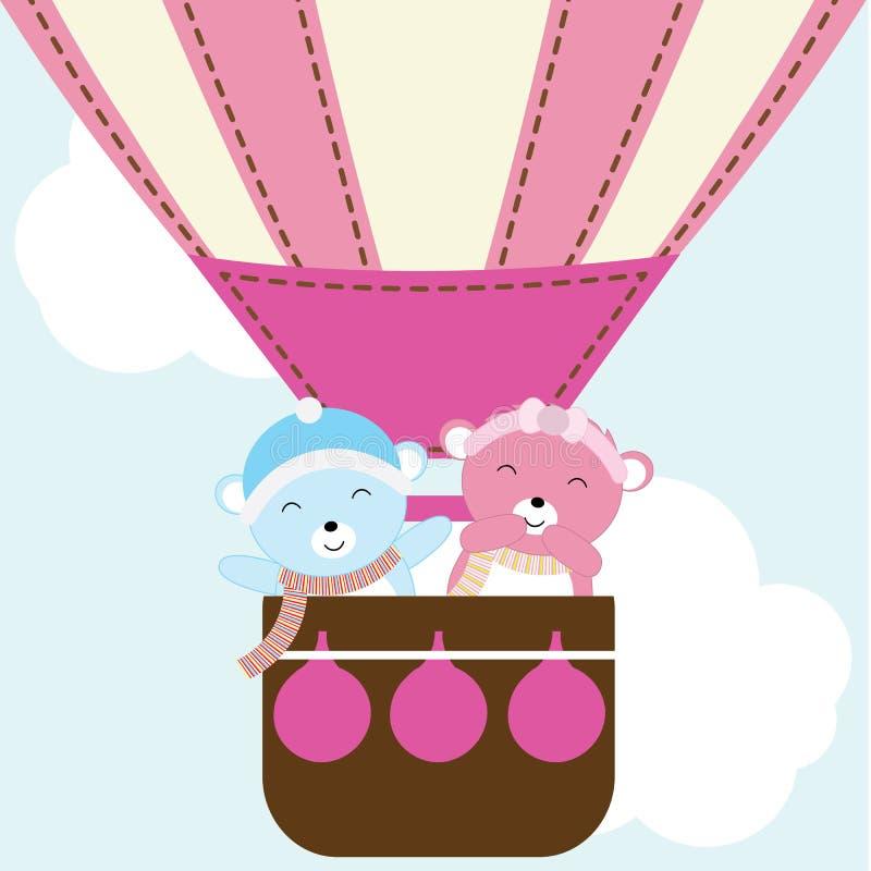 Babypartyillustration mit nettem Babybären im Heißluftballon passend für Babypartyeinladung, Grußkarte und Tapete stock abbildung