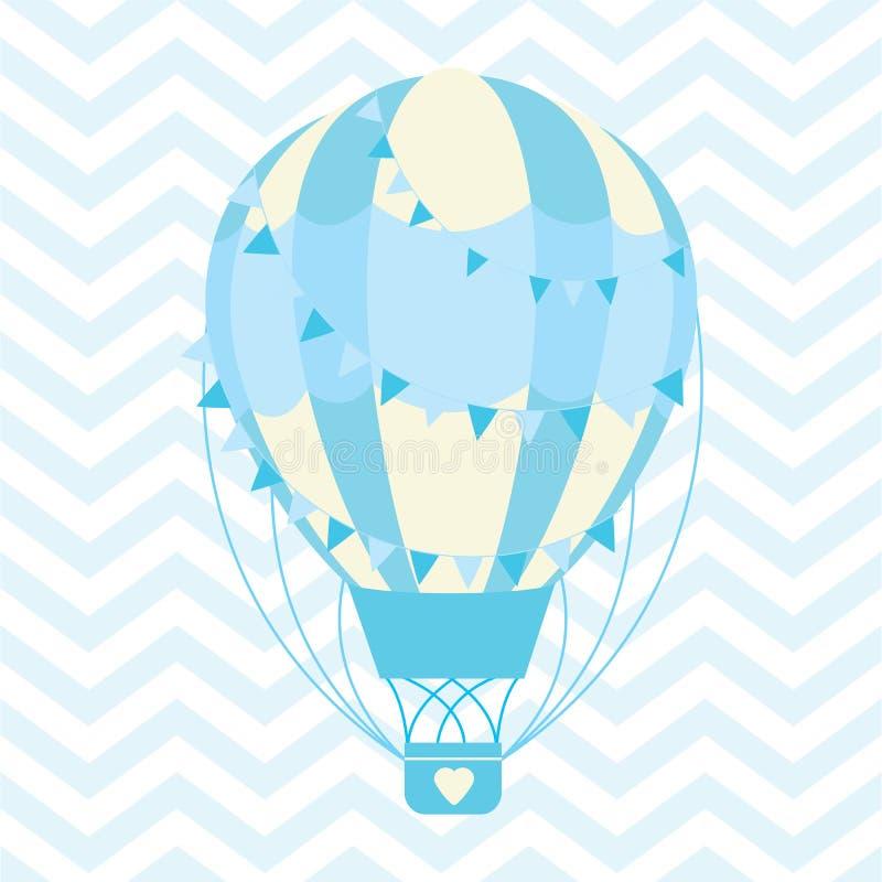 Babypartyillustration mit nettem blauem Heißluftballon auf Sparrenhintergrund vektor abbildung