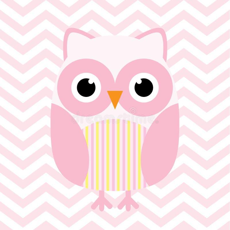 Babypartyillustration mit netter rosa Babyeule auf rosa Sparrenhintergrund stock abbildung
