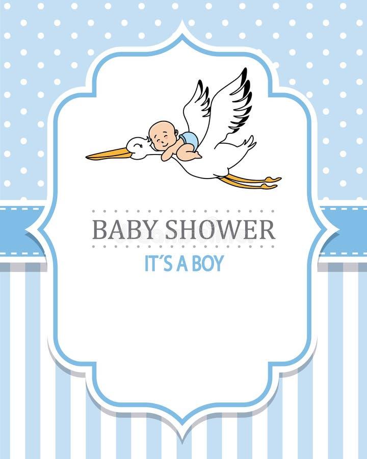 Babypartyjunge Storch mit einem Schätzchen lizenzfreie abbildung