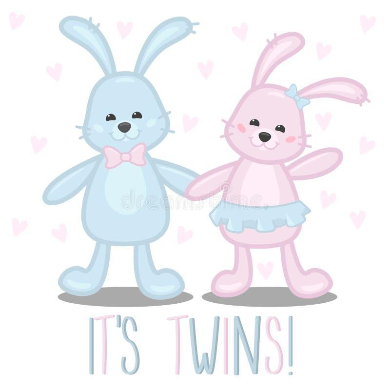 Babypartykarte ist es Zwillinge, Junge und Mädchen lizenzfreie abbildung