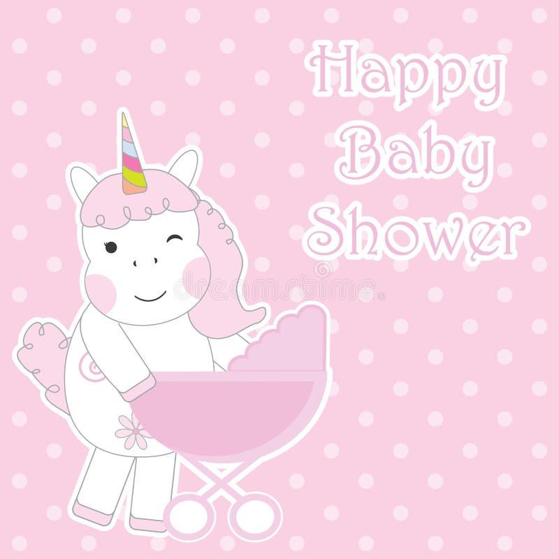 Babypartykarte mit nettem Einhornmädchen holt und Babywarenkorb auf rosa Tupfenhintergrund für Babypartyeinladungskarte stock abbildung