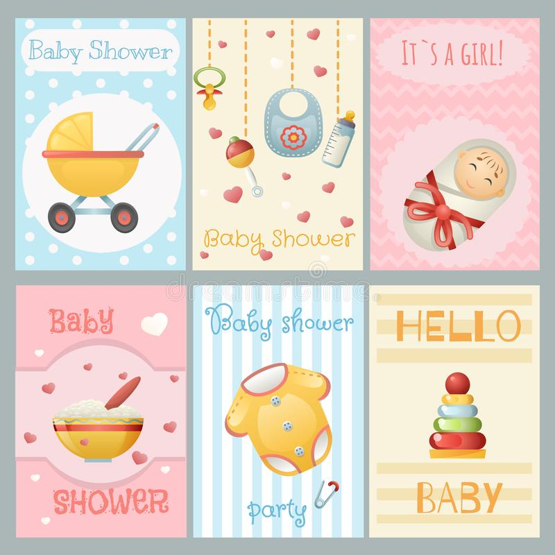Babypartykartenjungen-Mädchengeburtstag feiern Einladungssatz-Vektorillustration stock abbildung