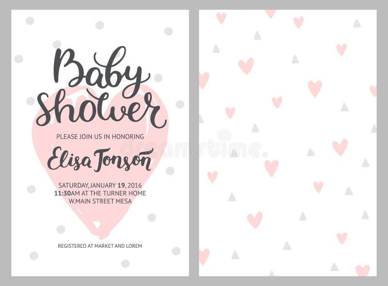 Babypartymädchen- und -jungeneinladungen, Vektorschablonen stock abbildung