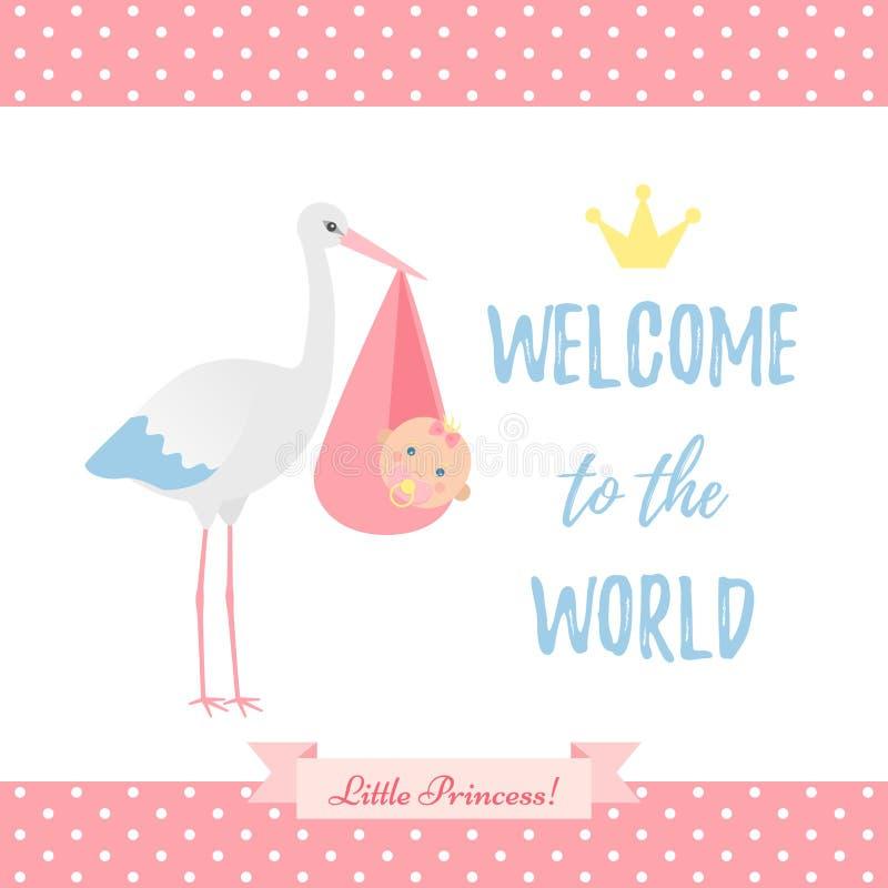 Babypartymädchenkarte Auch im corel abgehobenen Betrag Rosa Fahne mit sto lizenzfreie abbildung