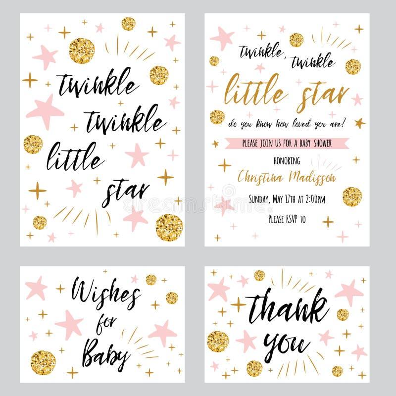 Babypartymädchenschablonen funkeln Text des Funkelnkleinen sterns mit Goldtupfen-Rosastern, den invtation Ihnen danken zu kardier stock abbildung