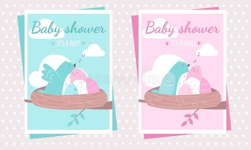 Babypartypartei-Postkartenschablonen mit den Vögeln, ein Baby erwartend vektor abbildung