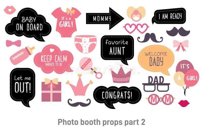 Babypartypassfotoautomat photobooth Stützen eingestellt stock abbildung