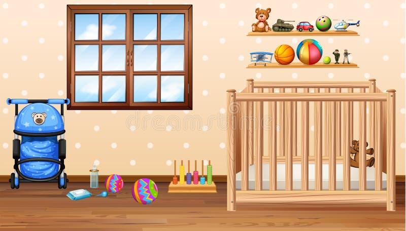 Babyruimte met kabeljauw en speelgoed stock illustratie