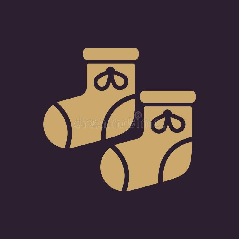 Babys-Babyschuhikone Entwurf Socken, sox, Babys-Babyschuhsymbol web graphik ai app zeichen nachricht flach bild zeichen vektor abbildung