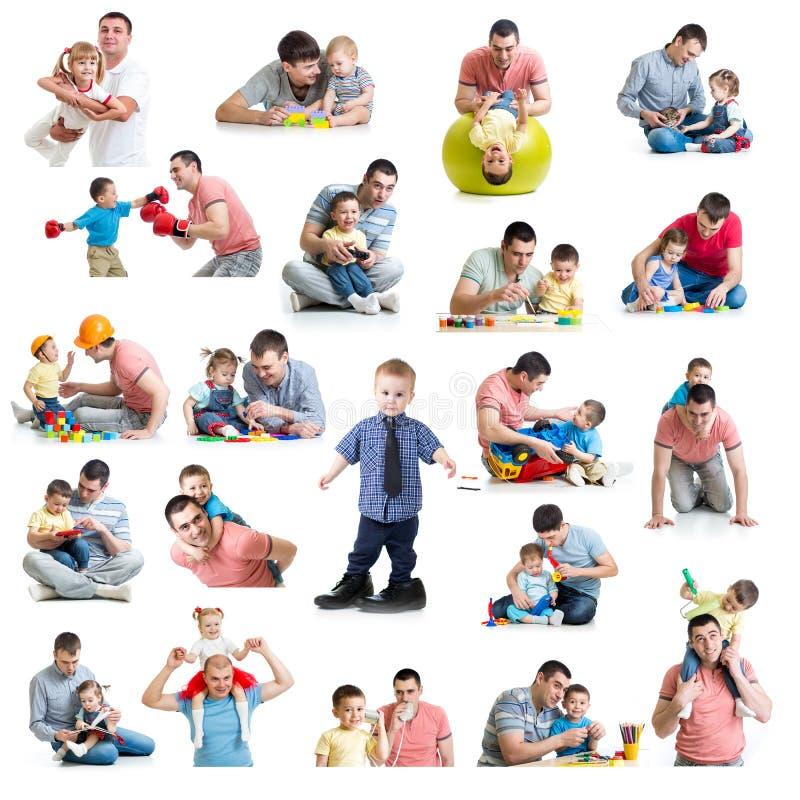 Babys en jonge geitjescollage met dads Het vaderschap en het vaderschap bedriegen stock afbeeldingen