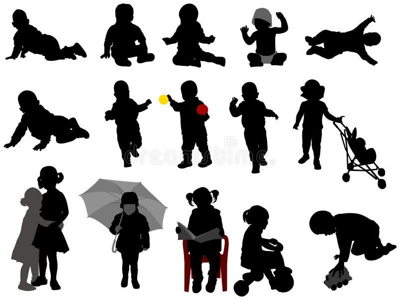 Babys en peuterssilhouetteninzameling vector illustratie