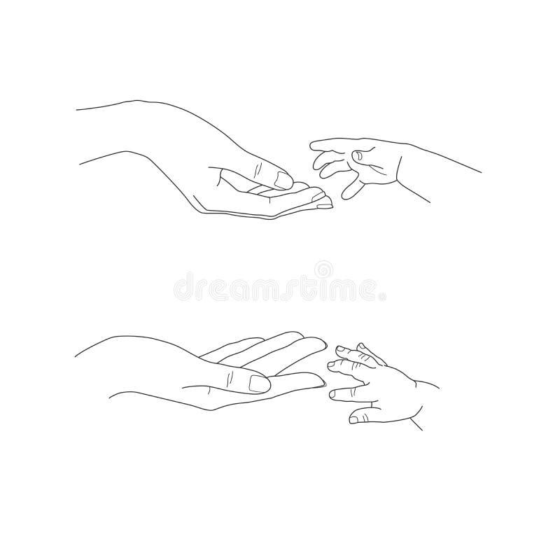 Babys-Hand, die bis zu seinen Mutterpalmen Vektor erreicht vektor abbildung