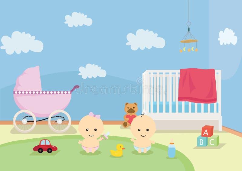Babys lekrum vektor illustrationer