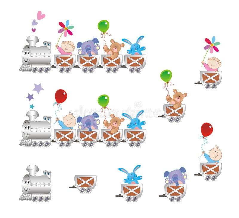 Babys op trein vector illustratie