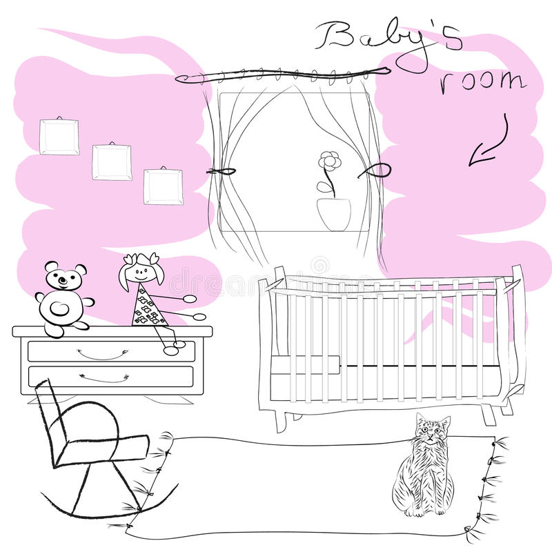 Babys rum royaltyfri illustrationer