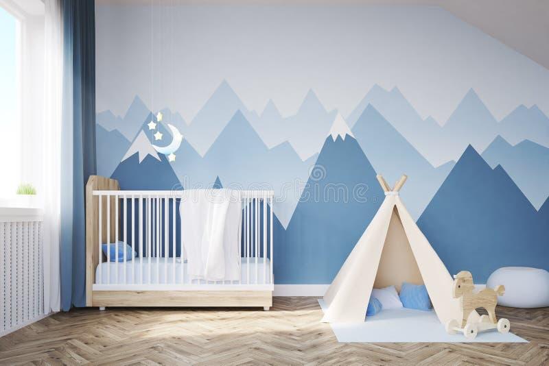 Babys rum med en säng och ett tält vektor illustrationer