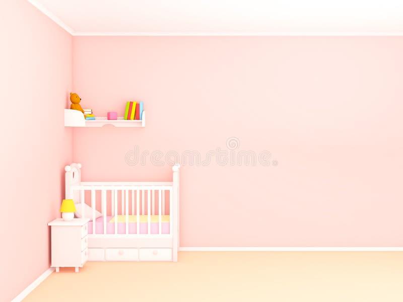 Babys tom vägg för sovrum framlänges royaltyfri illustrationer