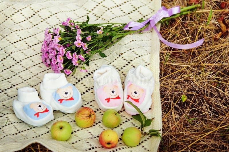 Babyschoenen voor jongen en meisje stock afbeelding