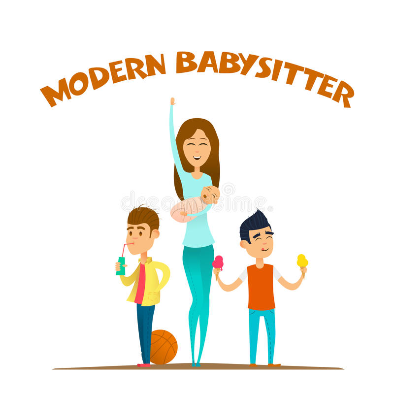 Babysitter élégante moderne illustration stock