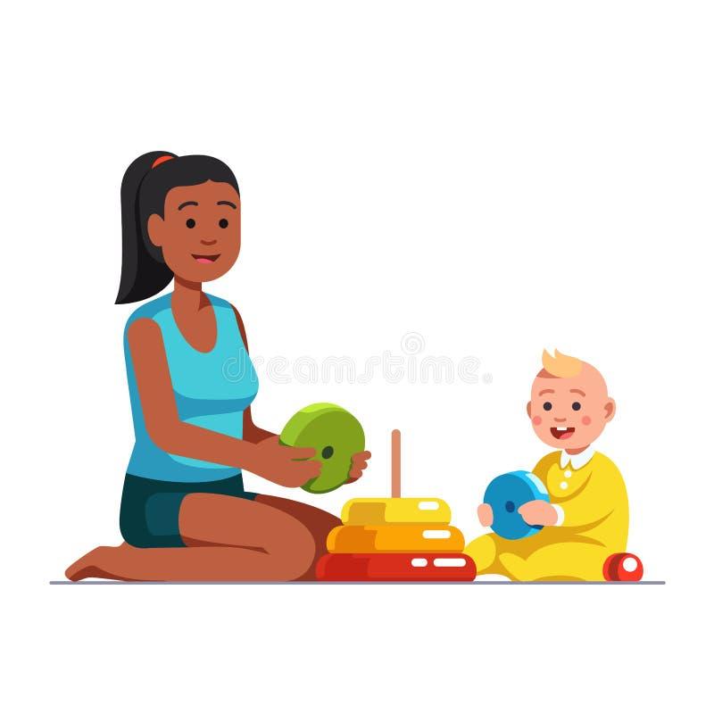 Babysitter afro-américaine jouant avec le bébé garçon illustration libre de droits