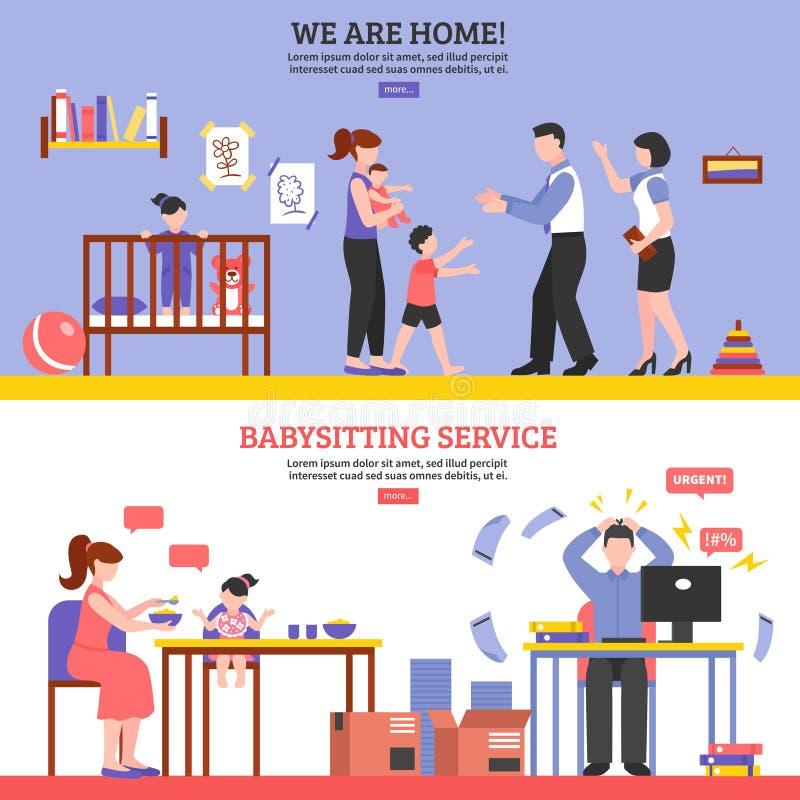 Babysitter Banners Set illustration stock