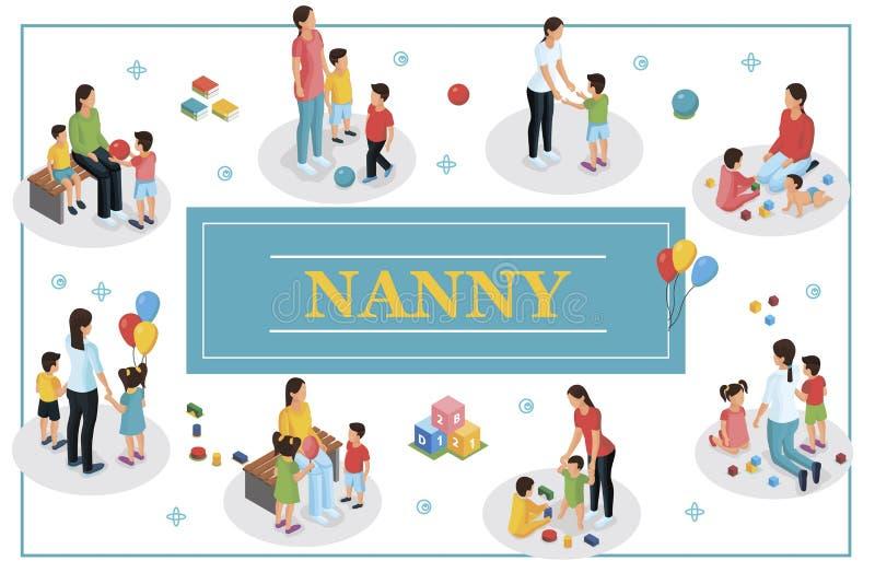 Babysitter isométrique And Kids Concept illustration de vecteur