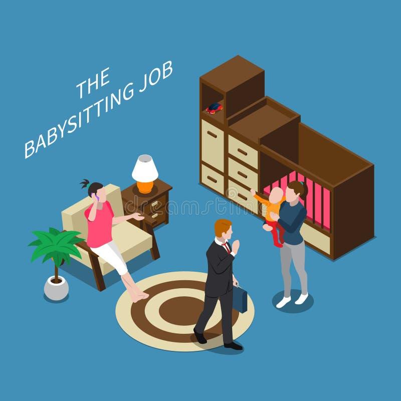Babysitter Isometric Composition illustration libre de droits