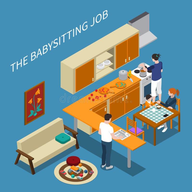 Babysitter Isometric Composition illustration stock