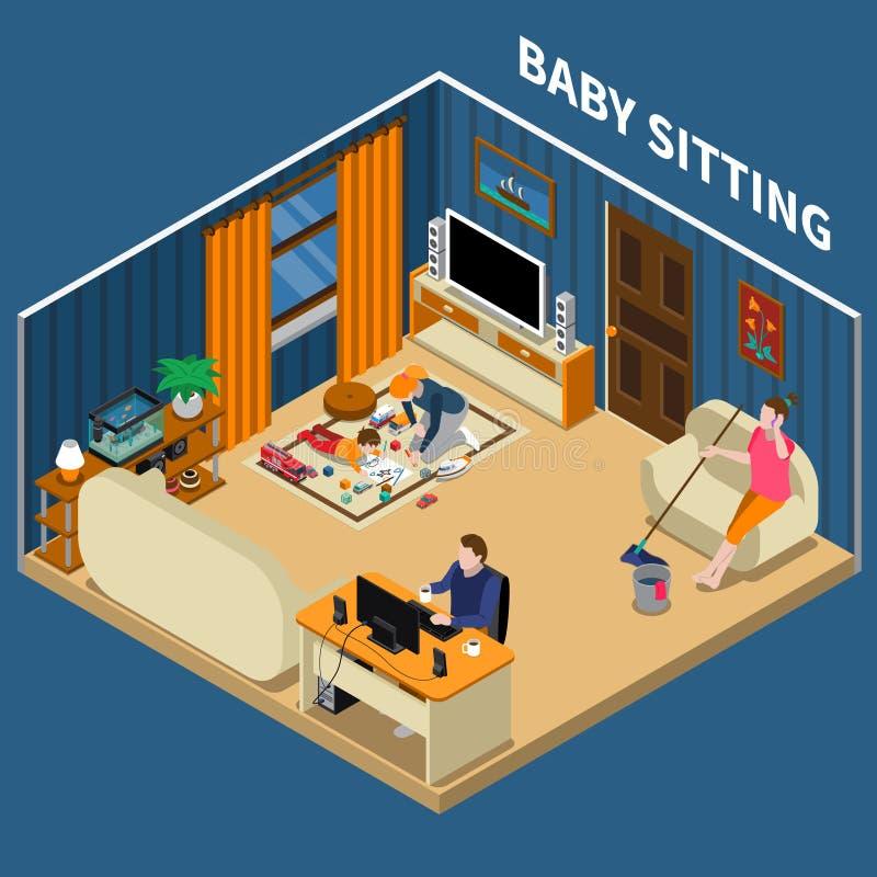 Babysitter Isometrische Samenstelling royalty-vrije illustratie