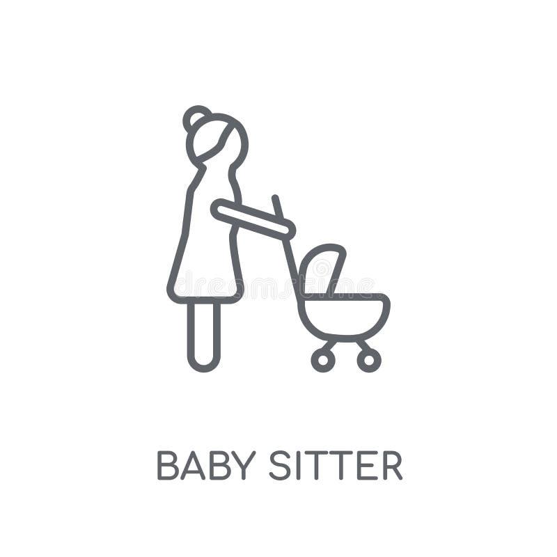 Babysitter lineair pictogram Modern het embleemconcept van de overzichtsbabysitter royalty-vrije illustratie