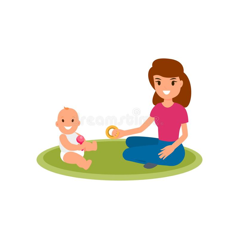 A babysitter or nanny sits on the carpet and plays with the baby. Vector flat isolated illustration on white background. A babysitter or nanny sits on the vector illustration