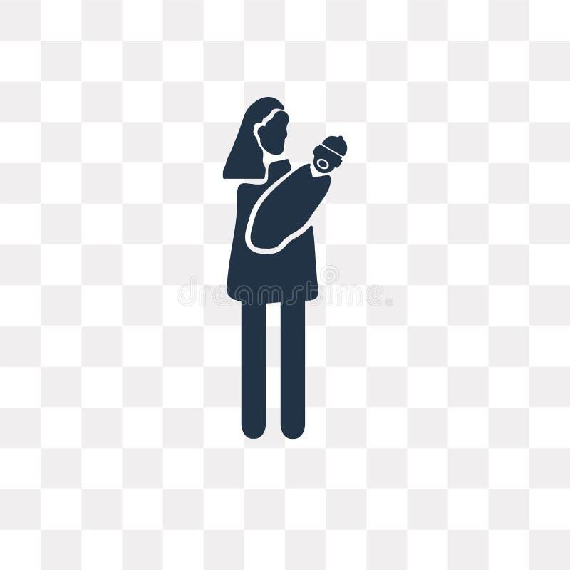 Babysitter vectordiepictogram op transparante achtergrond, Baby wordt geïsoleerd stock illustratie