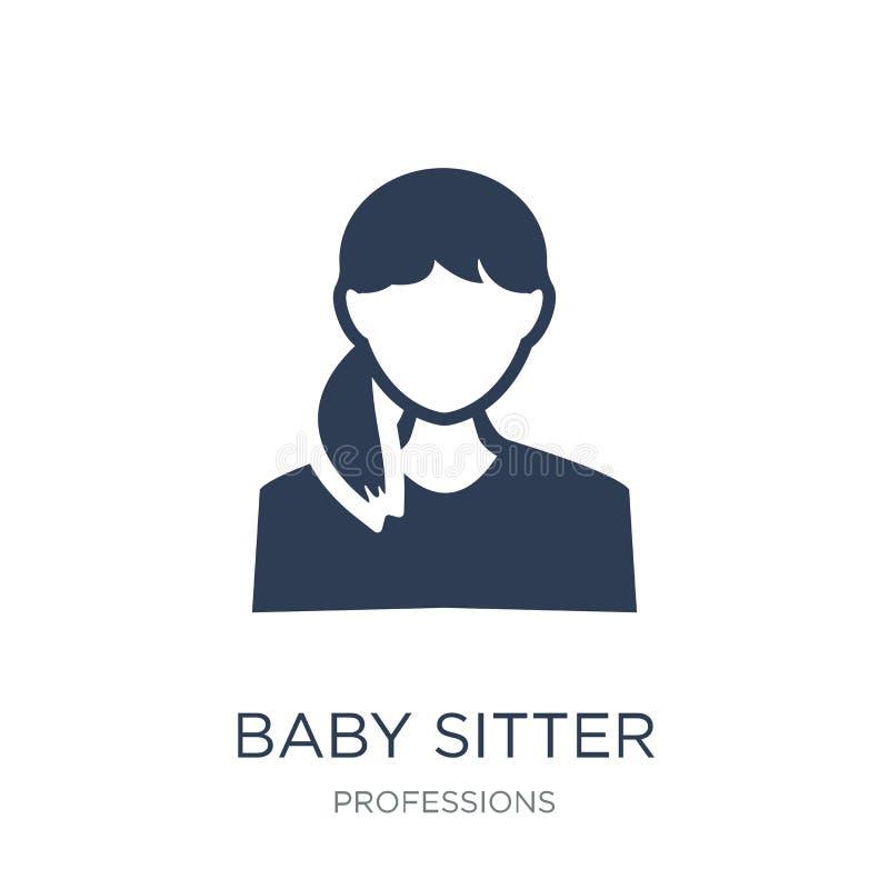 Babysitterpictogram In vlak vectorbabysitterpictogram op witte B stock illustratie