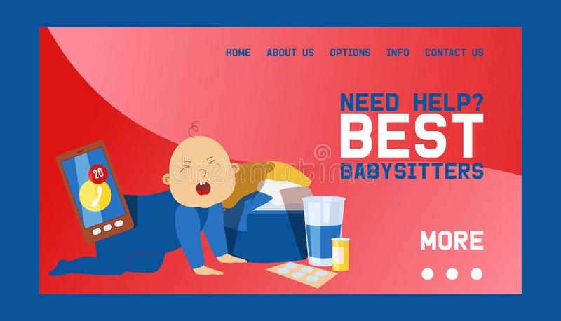 Babysitters banner web design vector illustration. Playing with crying toddler and baby. Busy mother working. Need help. Taking Care if kid. Mobile phone vector illustration