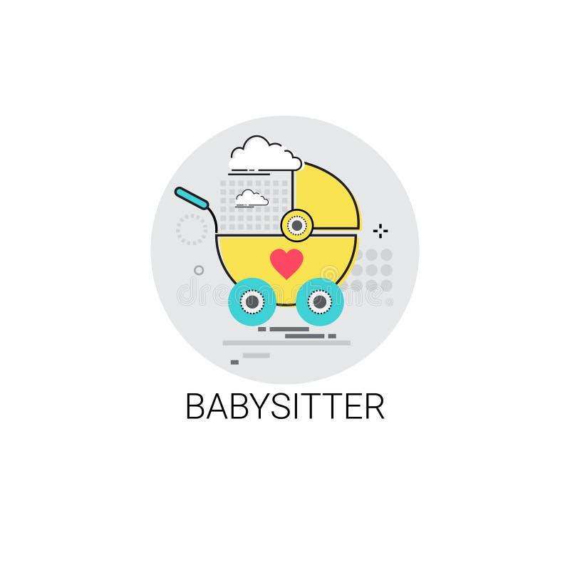 BabysitterStroller Child Cart symbol stock illustrationer