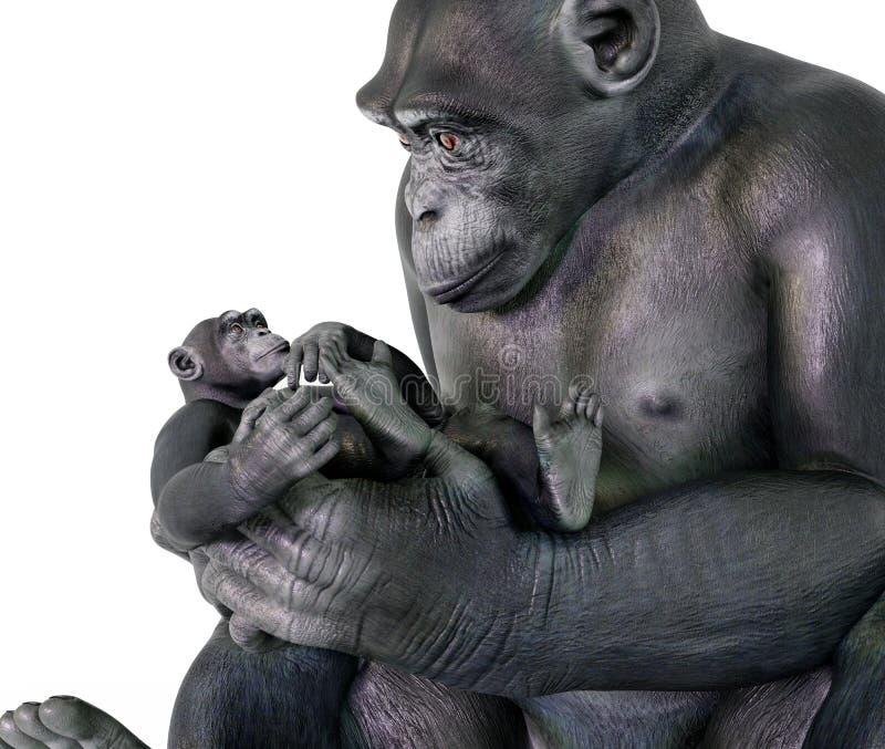 Babysitting do chimpanzé ilustração stock