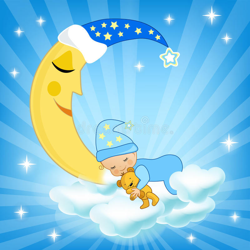 Babyslaap op de wolk royalty-vrije illustratie