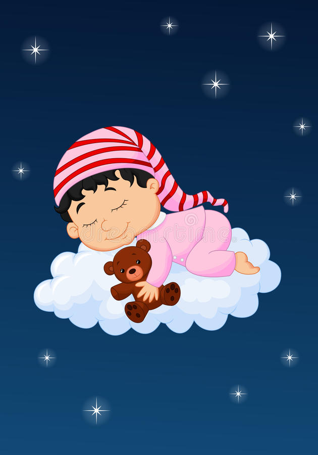 Babyslaap op de wolk vector illustratie