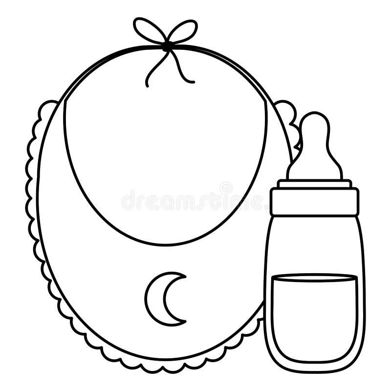 Babyslab met de pictogrammen van de melkfles royalty-vrije illustratie