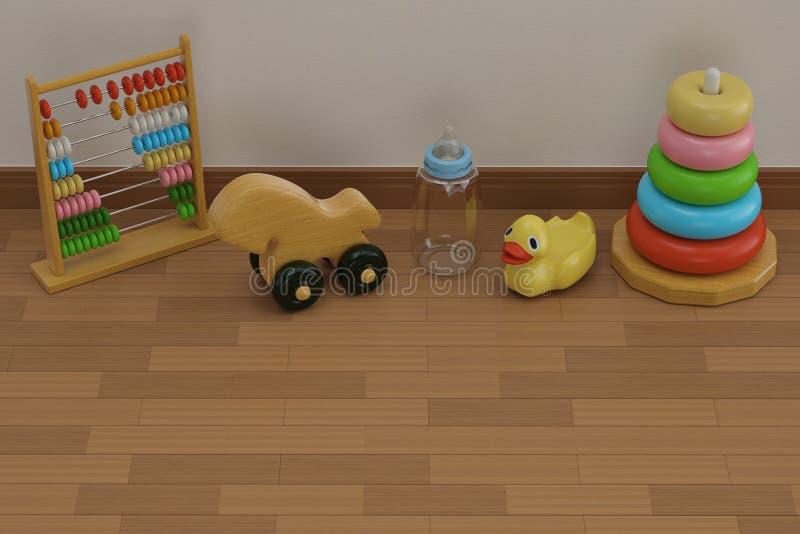 Babyspeelgoed op houten vloer 3D illustratie stock afbeeldingen