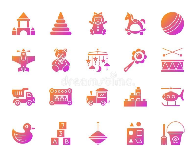 Babystuk speelgoed de eenvoudige vectorreeks van gradiëntpictogrammen royalty-vrije illustratie