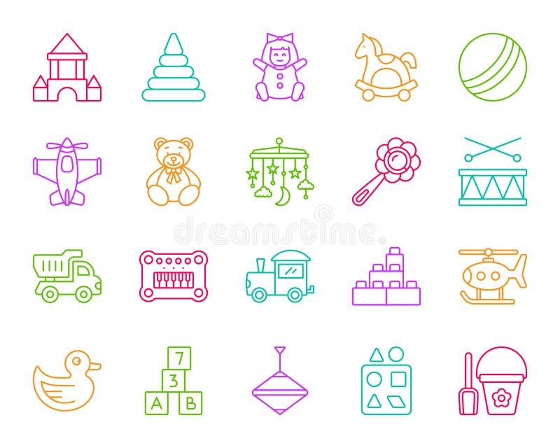 Babystuk speelgoed de eenvoudige vectorreeks van rassenbarrièrepictogrammen stock illustratie