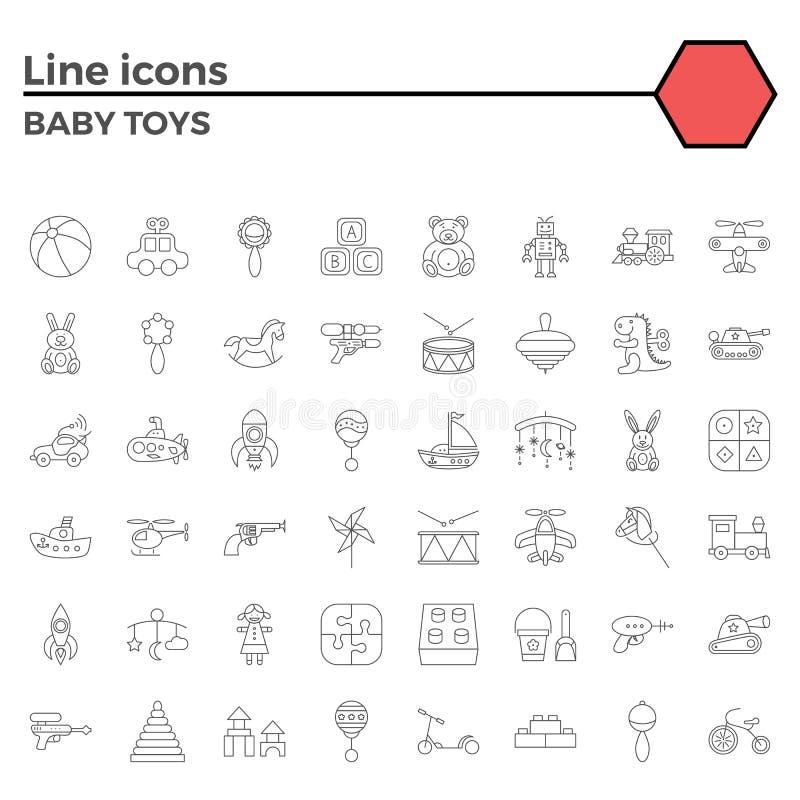 Babystuk speelgoed lijnpictogrammen royalty-vrije illustratie