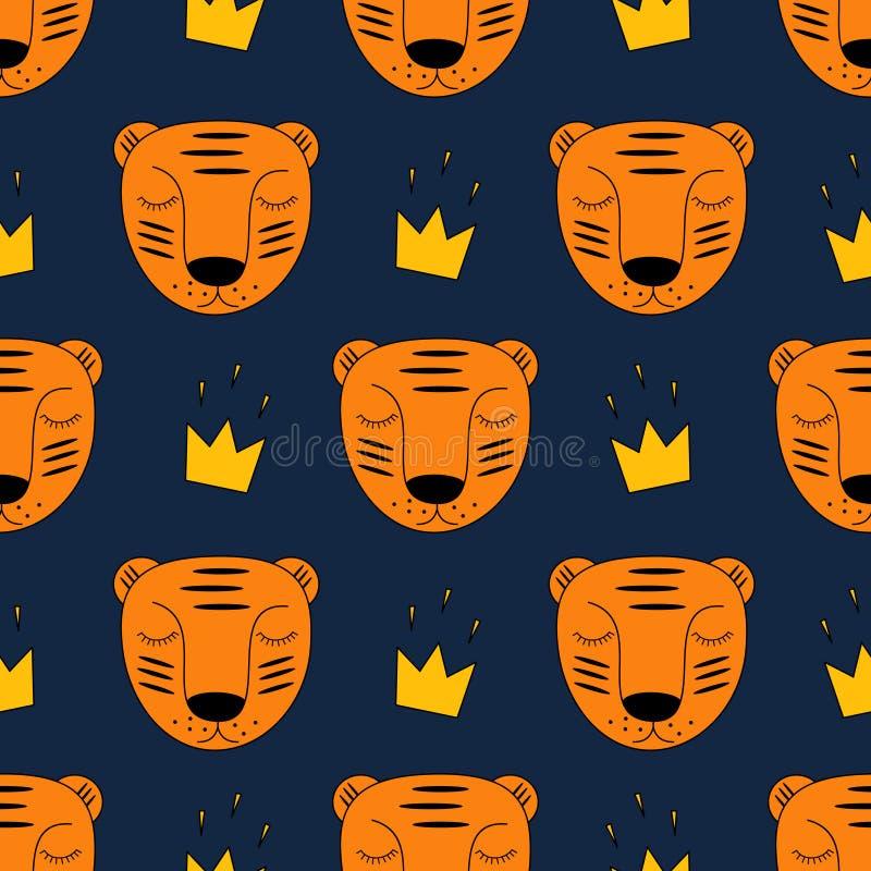 Babytijger met gouden kroon naadloos patroon op donkerblauwe achtergrond vector illustratie