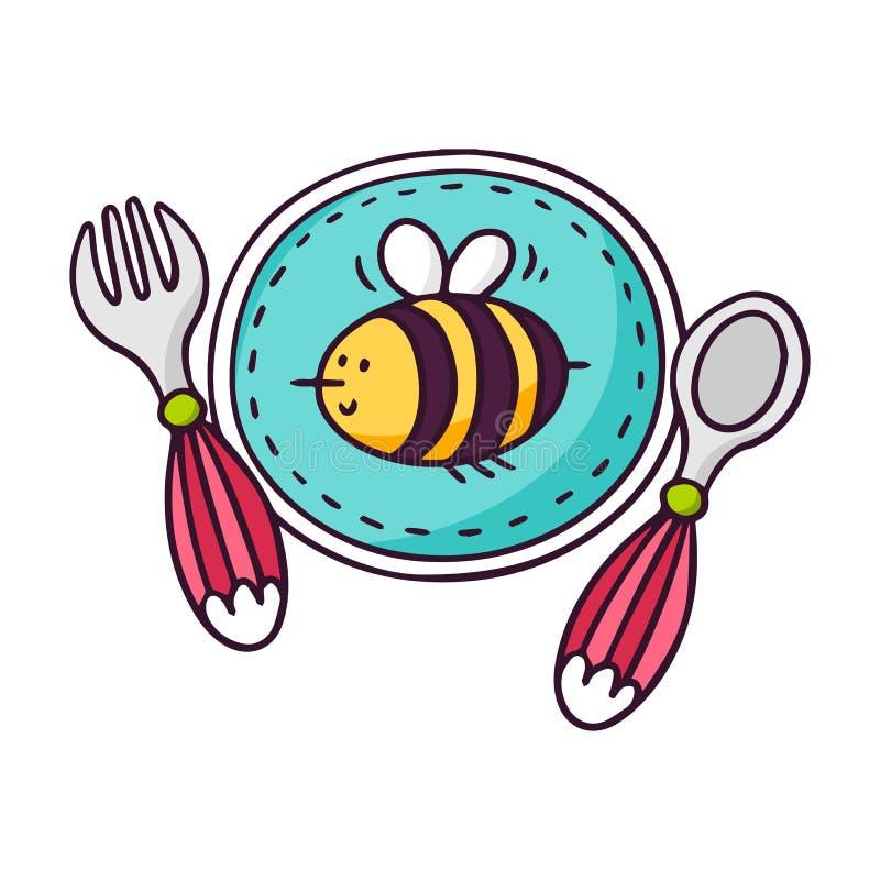 Babyvaatwerk - plaat, lepel en vork - heldere vectorkinderen royalty-vrije illustratie