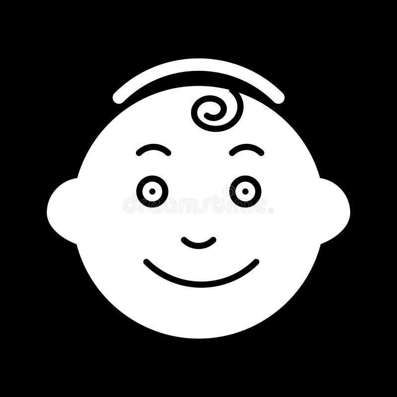 Babyvektorikone Kleine Herrschwarzweiss-illustration Feste lineare lächelnde Babygesichtsikone stock abbildung